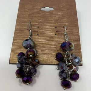 "NWT Purple Clusters Earrings 2.5"" Long"